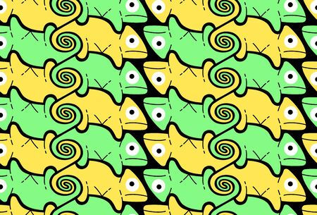 Chameleon, background in Escher style, seamless pattern vector illustration