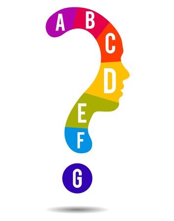 Colorful Question mark symbol silhouette of a girl and alphabet