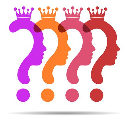 Colorful Question mark symbol silhouette of a girl, Beauty Queen