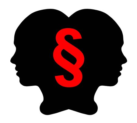 Girl silhouette and Section sign, black icon, vector illustration 向量圖像