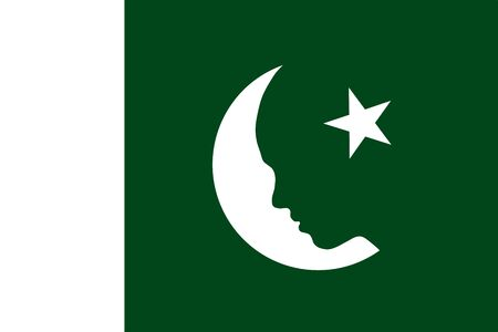 Abstract flag of Pakistan, beautiful girl silhouette as moon