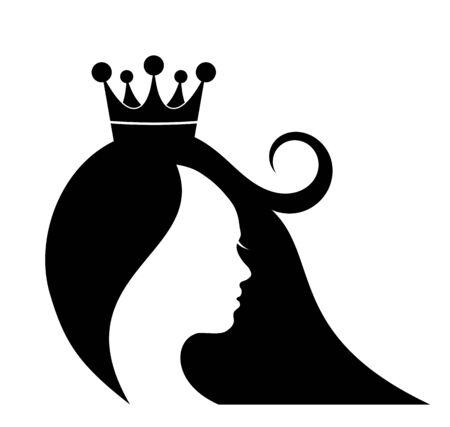 Silhouette of girl head, Beauty Queen