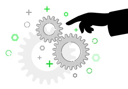 Pointing finger at maintenance gears, illustration flat style