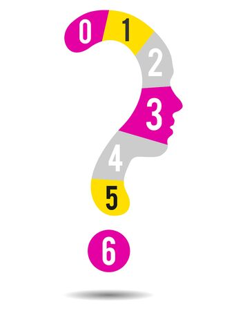 Colorful Question mark symbol silhouette of a girl and numbers