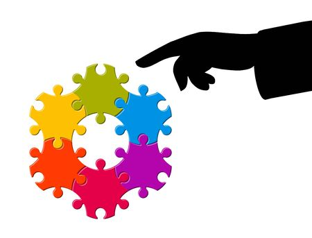 Pointing finger at puzzle shape hexagon, business model, concept teamwork