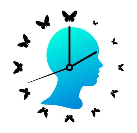 Silhouette of the girl head and wall clock with butterflies