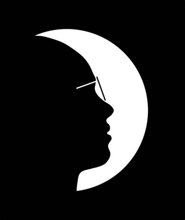 Beautiful girl silhouette as moon, medical examination and concept perfect vision