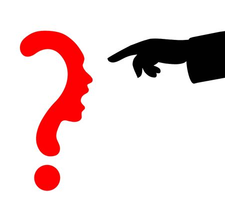 Question mark symbol silhouette of a girl, communication or shriek and Pointing finger