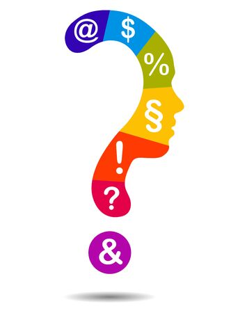 Colorful Question mark symbol silhouette of a girl