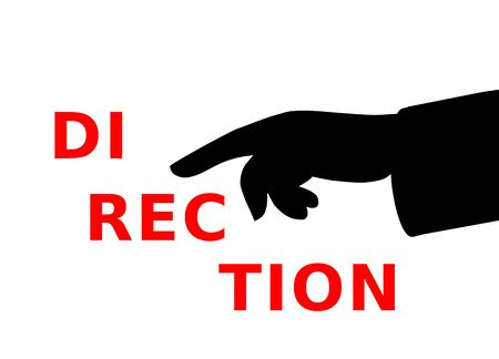 Pointing finger at text direction, vector illustration