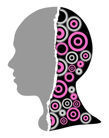 Silhouettes of girls and abstracr gears and tor paper, illustration white background
