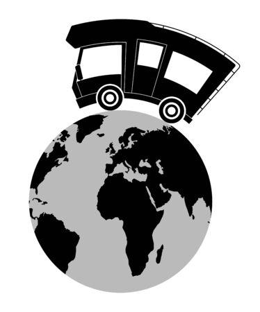 Caravan car confort travel on holiday, speed motion, globe ball Illustration