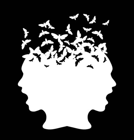 Black silhouette of a girl with moth, vector illustration