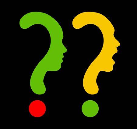 Question mark symbol silhouette of a girl, communication or shriek