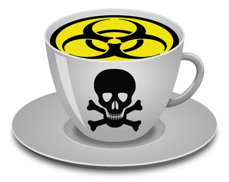 Coronavirus sign, biohazard alert in a coffee cup on white background