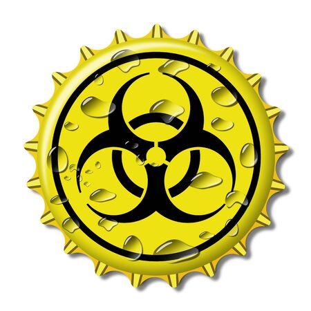 Illustration Bottle Cap with sign biohazard Coronavirus Stock Photo