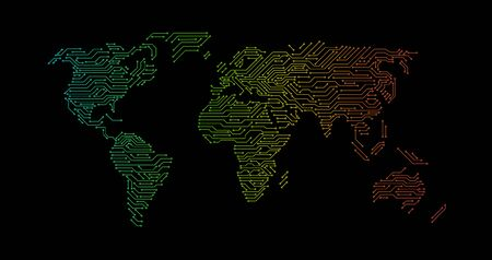 Colorful printed circuit map of World, vector illustration