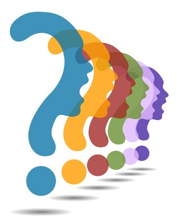 Colorful Question mark symbol silhouette of a girl, communication or shriek