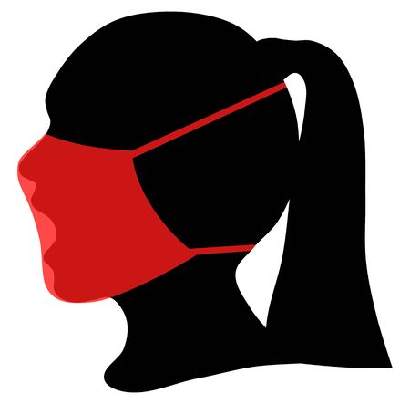 Silhouette of human head and protective medical mask, vector illustration