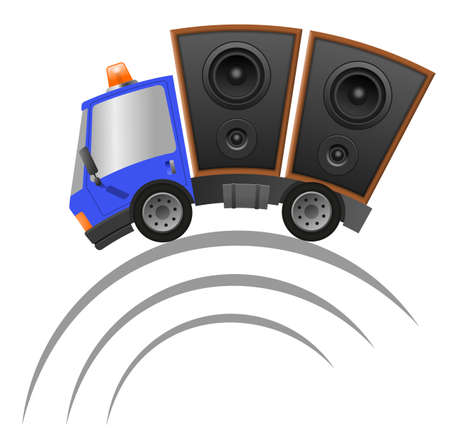 Car and hifi speaker illustration, speed motion 版權商用圖片