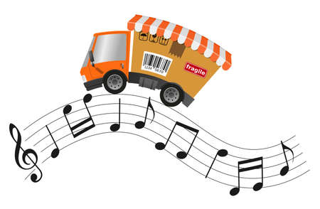 Delivery truck with shop, concept music store 版權商用圖片