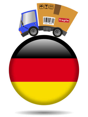 Delivery truck with cardboard box and Germany badge