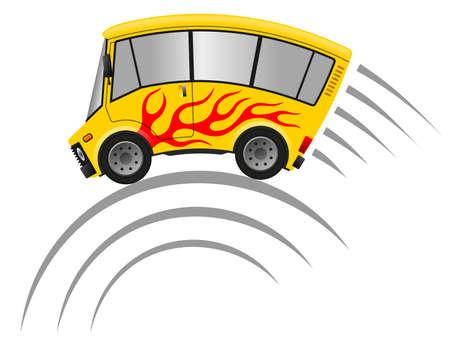 Travel minibus illustration, speed motion