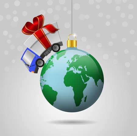 Delivery truck with gift box and christmas ball globe, illustration 版權商用圖片
