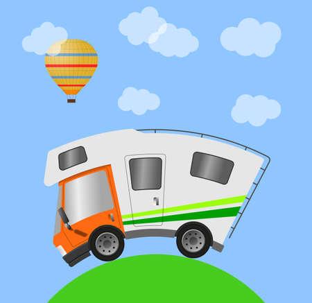 Caravan car confort travel on holiday, illustration 版權商用圖片