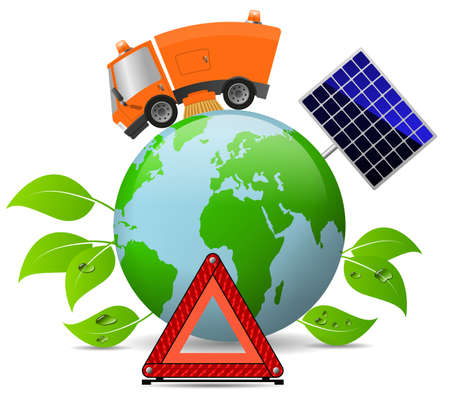 Modern street sweeper truck machine and globe, concept ecology and environment 版權商用圖片