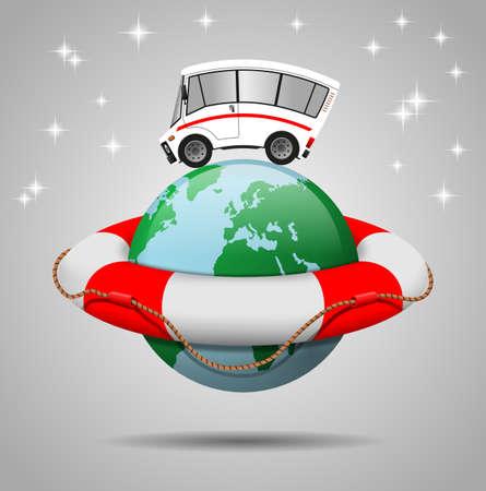 Travel minibus illustration, globe and Lifebuoy