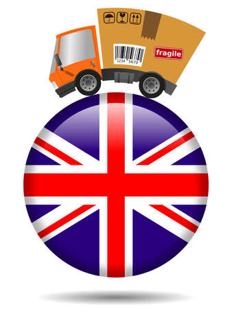 Delivery truck with cardboard box and Great Britain