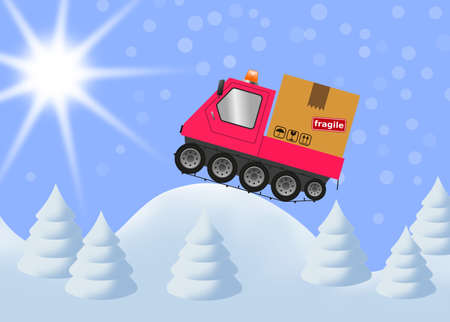 Snowmobile and cardboard box in winter landscape, merry christmas illustration