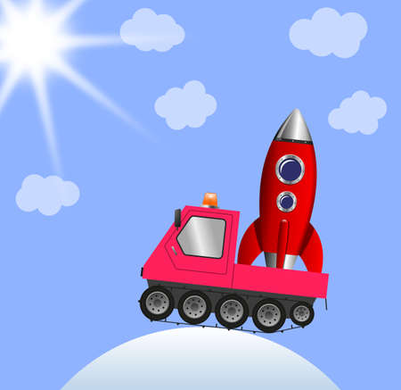 Snowmobile and rocket, winter landscape illustration