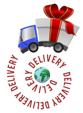Delivery truck with gift box, speed motion and globe, text on a spiral 版權商用圖片