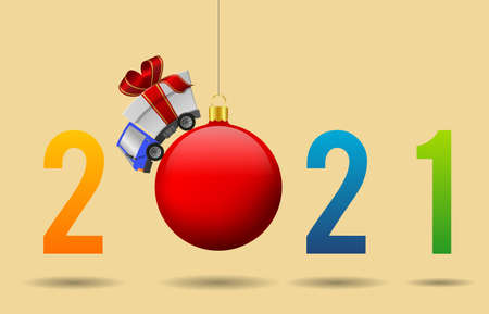 2021 Happy New Year and delivery truck with gift box and christmas ball, illustration 版權商用圖片
