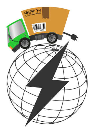 Delivery truck with cardboard box like electric car and battery symbol, vector illustration