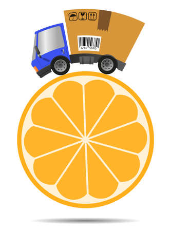Delivery truck with shop and citrus, fast trade concept 向量圖像