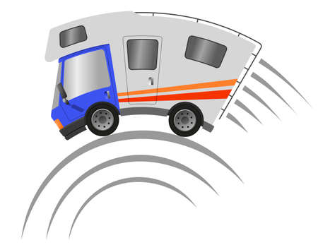 Caravan car confort travel on holiday, speed motion