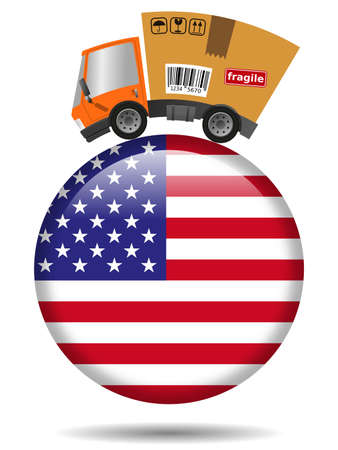 Delivery truck with cardboard box and United States badge 版權商用圖片
