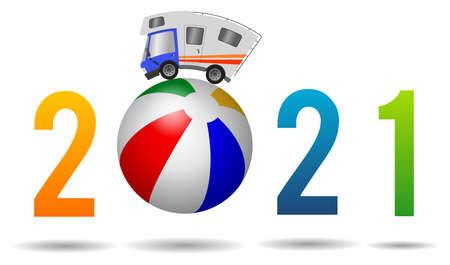 2021 Happy New Year, caravan car confort travel on holiday and beach ball