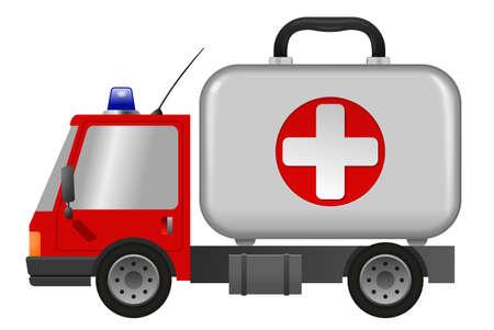 Ambulance car emergency auto as first aid kit, illustration 版權商用圖片