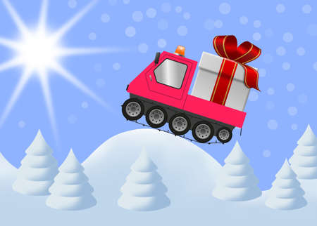 Snowmobile and gift box in winter landscape, merry christmas illustration 版權商用圖片
