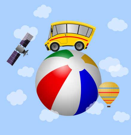 Travel minibus and beach ball, sky background 版權商用圖片
