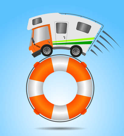 Caravan car confort travel on holiday and Lifebuoy 版權商用圖片