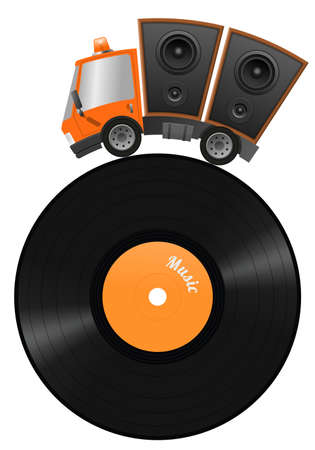 Car and hifi speaker illustration, concept music store