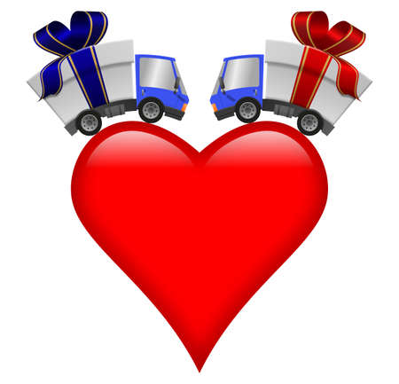 Delivery truck with gift box and heart, illustration 版權商用圖片