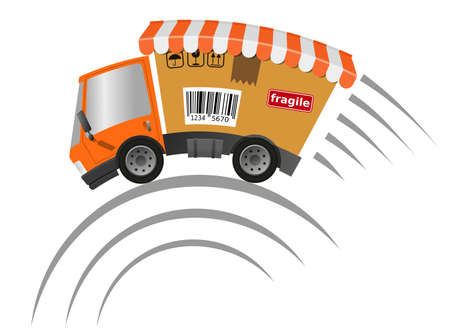 Delivery truck with cardboard box speed motion, illustration