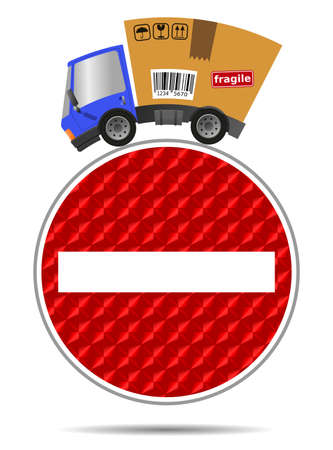 Delivery truck with cardboard box and reflective road sign