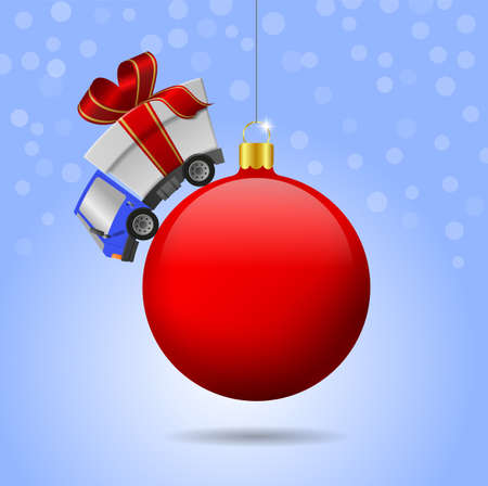 Delivery truck with gift box and christmas ball, illustration